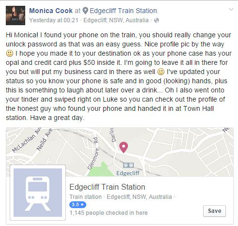 Man Finds Womans Phone, Hijacks Her Tinder And Leaves Creepiest Facebook Post Ever monica 1
