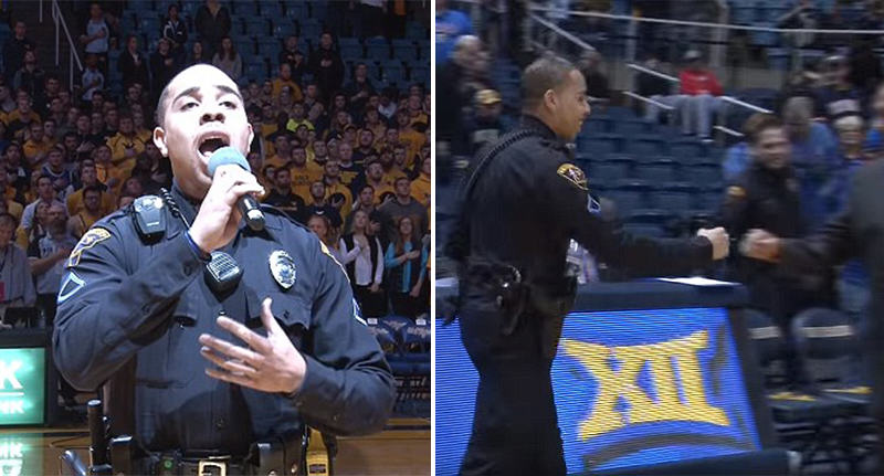 Policeman Gives Incredible Rendition Of National Anthem After Singer Gets Stuck In Snowstorm police anthem FB
