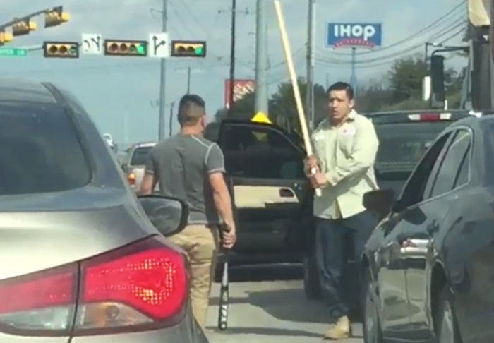 Road Rage Drivers Fight With Baseball Bats And Sticks In Brutal Video rage1 2