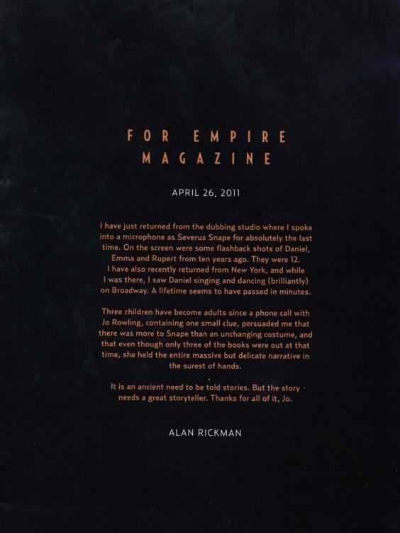 Alan Rickmans Heartfelt Goodbye To Snape And Harry Potter Fans rickmanletter1
