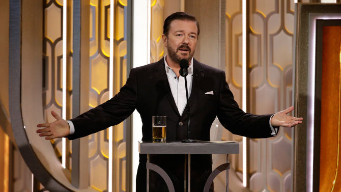 Did Ricky Gervais Go Too Far At The Golden Globes Or Are People Oversensitive? ricky gervais hosting golden globes 2016
