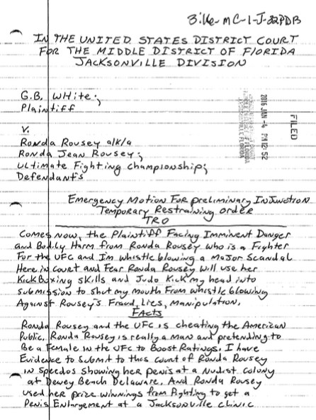 This Crazy Handwritten Restraining Order Against Ronda Rousey Cant Be Serious ronda1