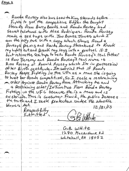 This Crazy Handwritten Restraining Order Against Ronda Rousey Cant Be Serious ronda2