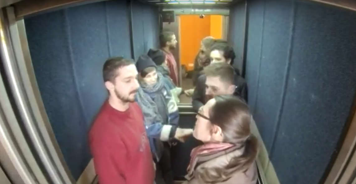 Shia LaBeouf Is Currently Riding Up And Down An Elevator In The UK 2 2