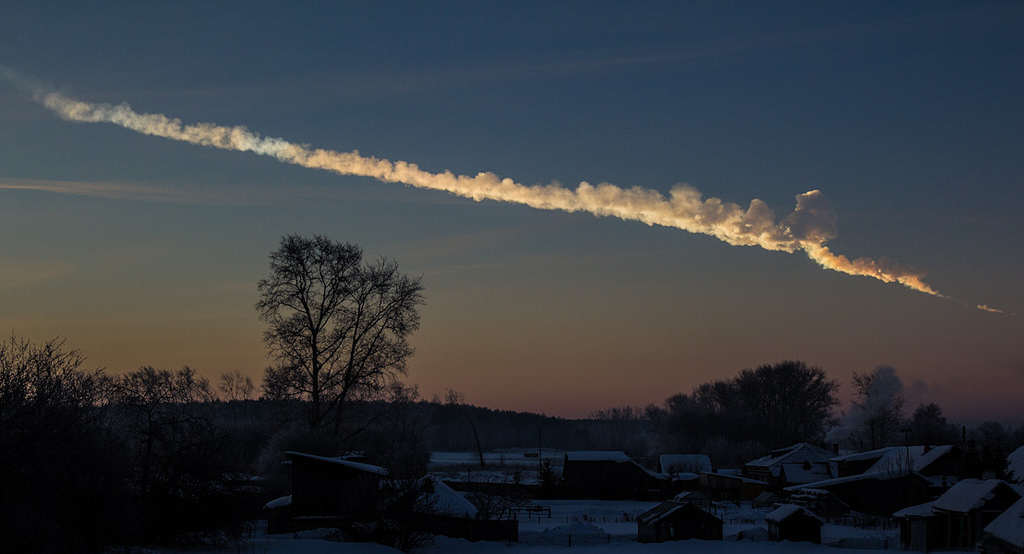 Fireball Hits Earth And Explodes With Same Energy As Atomic Bomb 2013 Chelyabinsk meteor trace