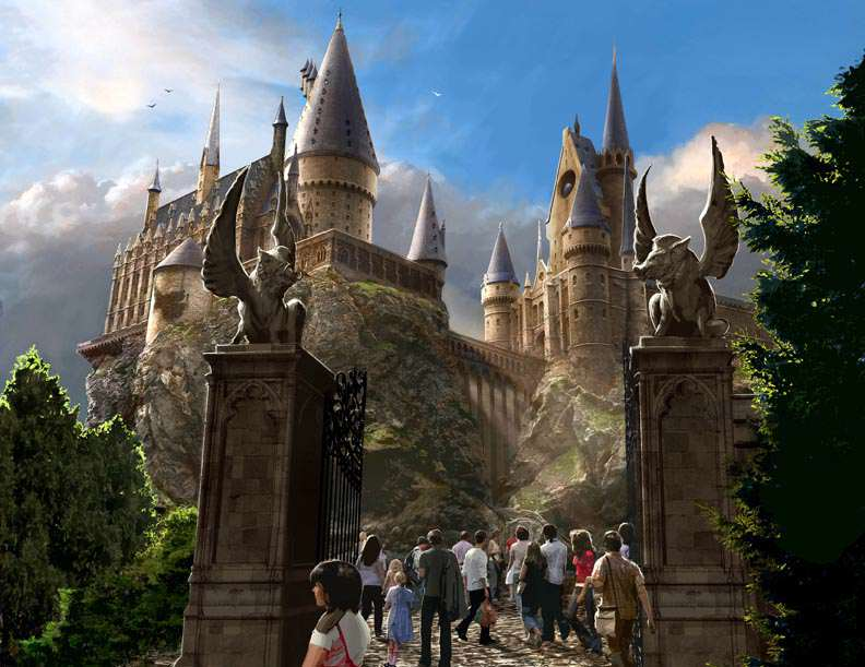 First Look At The Wizarding World Of Harry Potter At Universal Studios Hogwarts Exterior LR