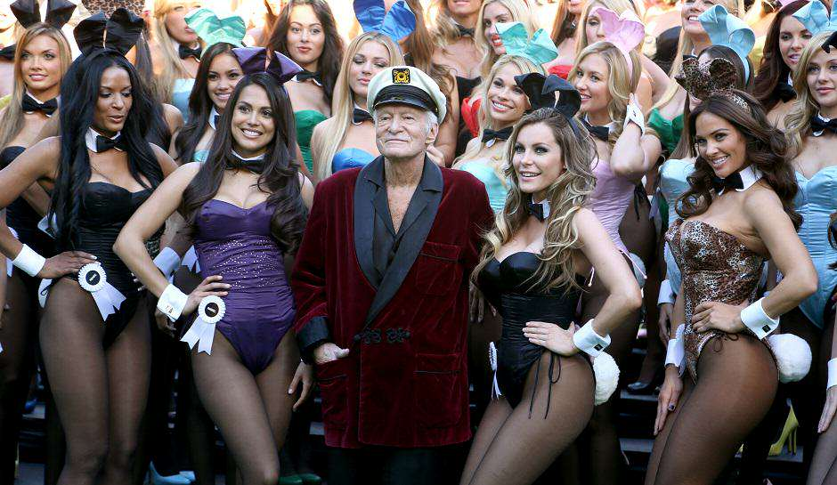 Playboy Reveals The First Issue Of Its New Look Magazine Hugh Hefner and Playboy Bunnies