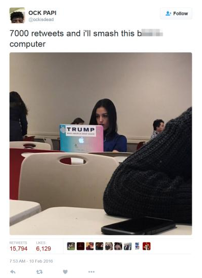 Student Promises To Smash Womans Trump Endorsing Laptop For Retweets Screen Shot 2016 02 12 at 19.29.42