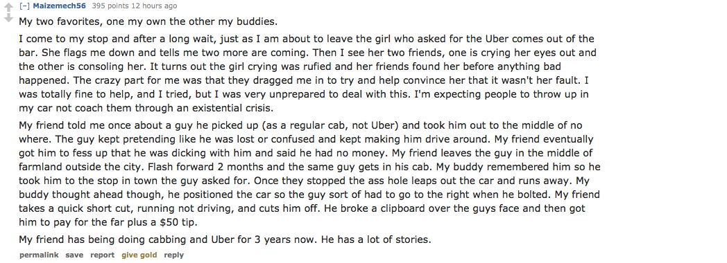 Uber Drivers Share Their Horror Stories On Reddit Screen Shot 2016 02 25 at 18.04.37