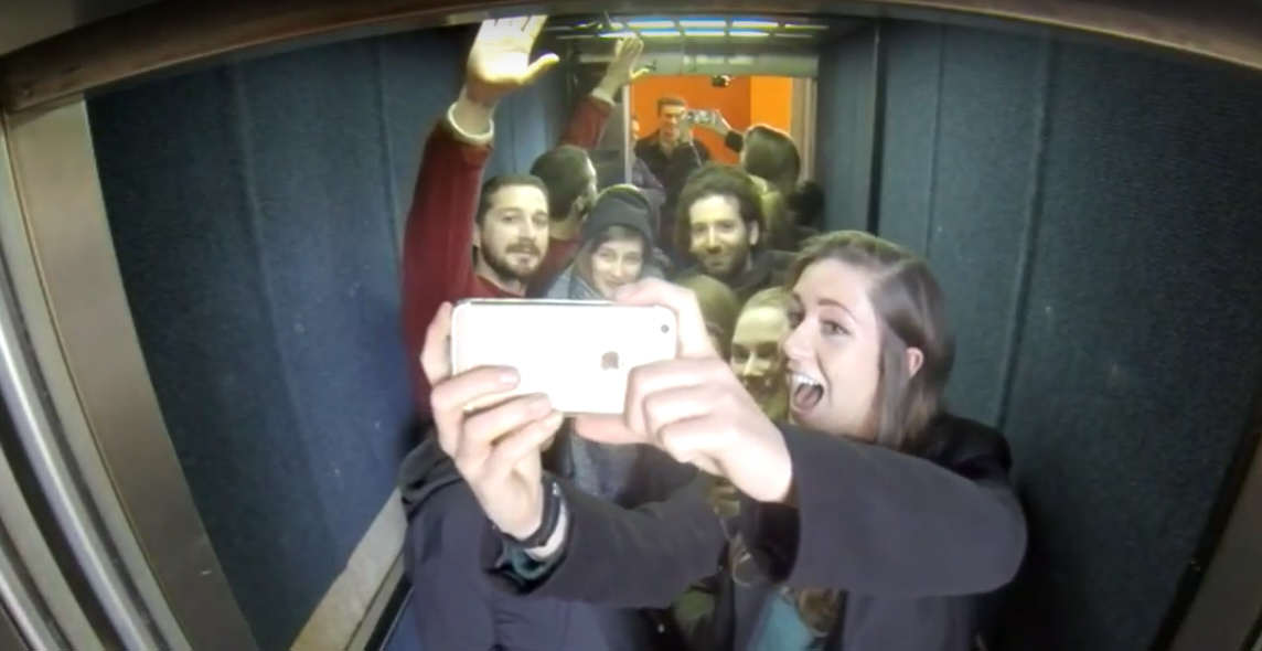 Shia LaBeouf Is Currently Riding Up And Down An Elevator In The UK Untitled 1 4