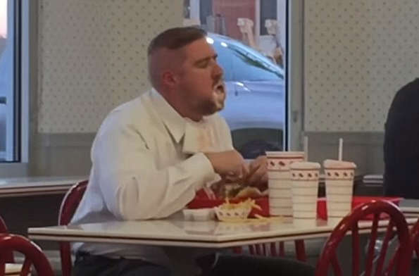 This Guy Eating His Massive In N Out Meal Is Absolutely Loving Life burger2