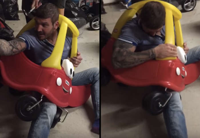 Man Gets Stuck In Kiddie Car, Because Alcohol car 1