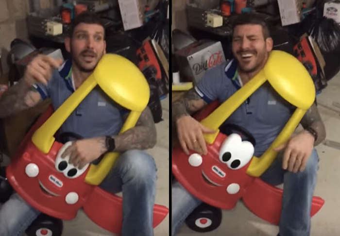 Man Gets Stuck In Kiddie Car, Because Alcohol car 2