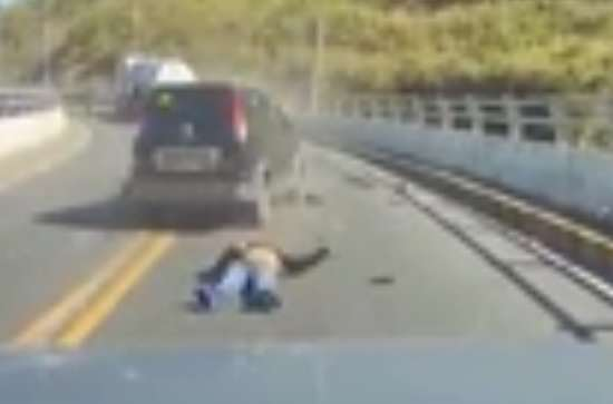 Video Shows Horrifying Moment Motorcyclist Is Taken Out In Head On Collision car crash 1