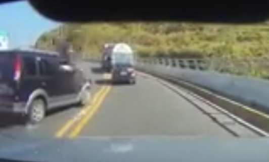 Video Shows Horrifying Moment Motorcyclist Is Taken Out In Head On Collision car crash 2