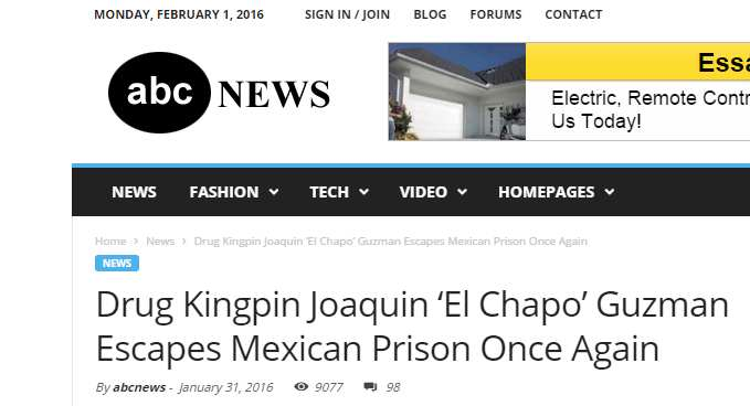 People Have Fallen For A Fake Website Reporting That El Chapo Has Escaped Again elChap1