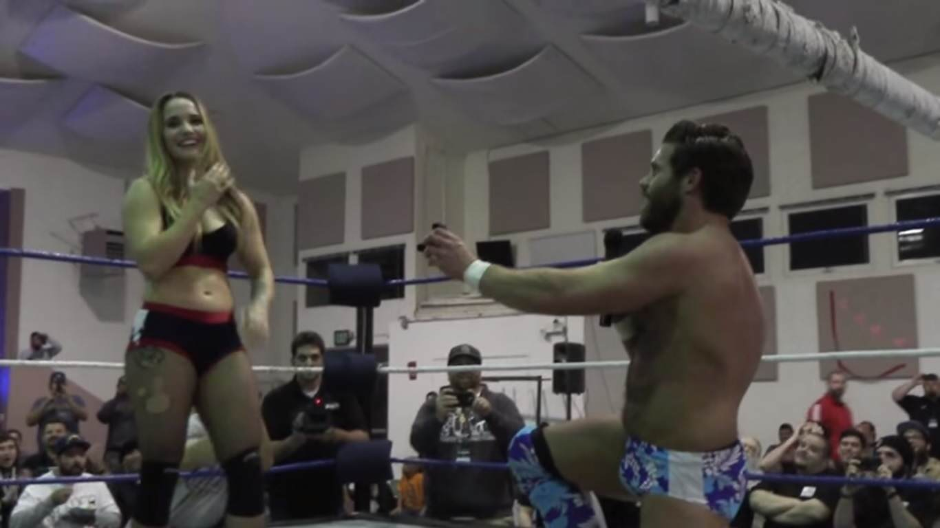 YouPorn Wrestler Proposes To His Girlfriend During Their Match joey ryan proposal