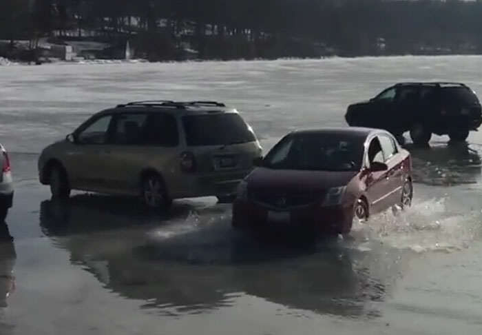 This Is Why You Shouldnt Park Your Car On A Frozen Lake lake1 1