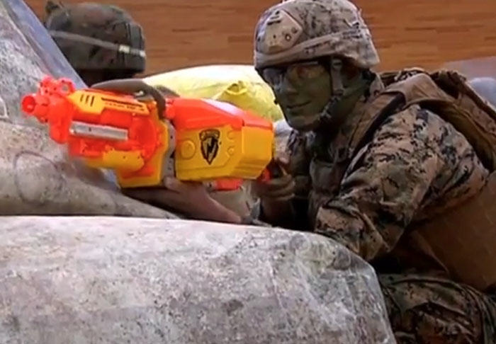 US Marines Take On Kids In Epic Nerf Battle nerf1