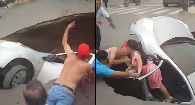 Family Of Three Rescued By Passers By As Car Swallowed By Massive Sinkhole sinkhole FB