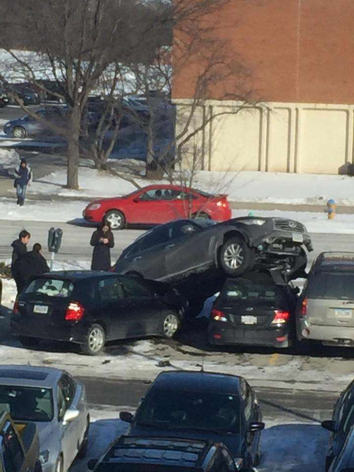 Peoples Reaction To This SUV Crashed On Top Of Cars Proves Humanity Is F*cked suv1