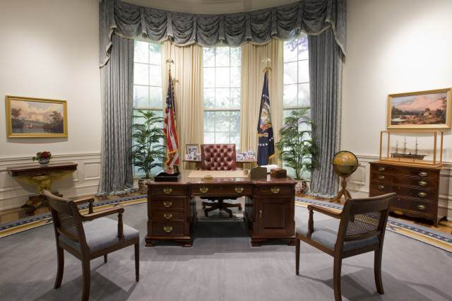 The Rock Considers Running For President, World Rejoices Bush Library Oval Office Replica 640x426