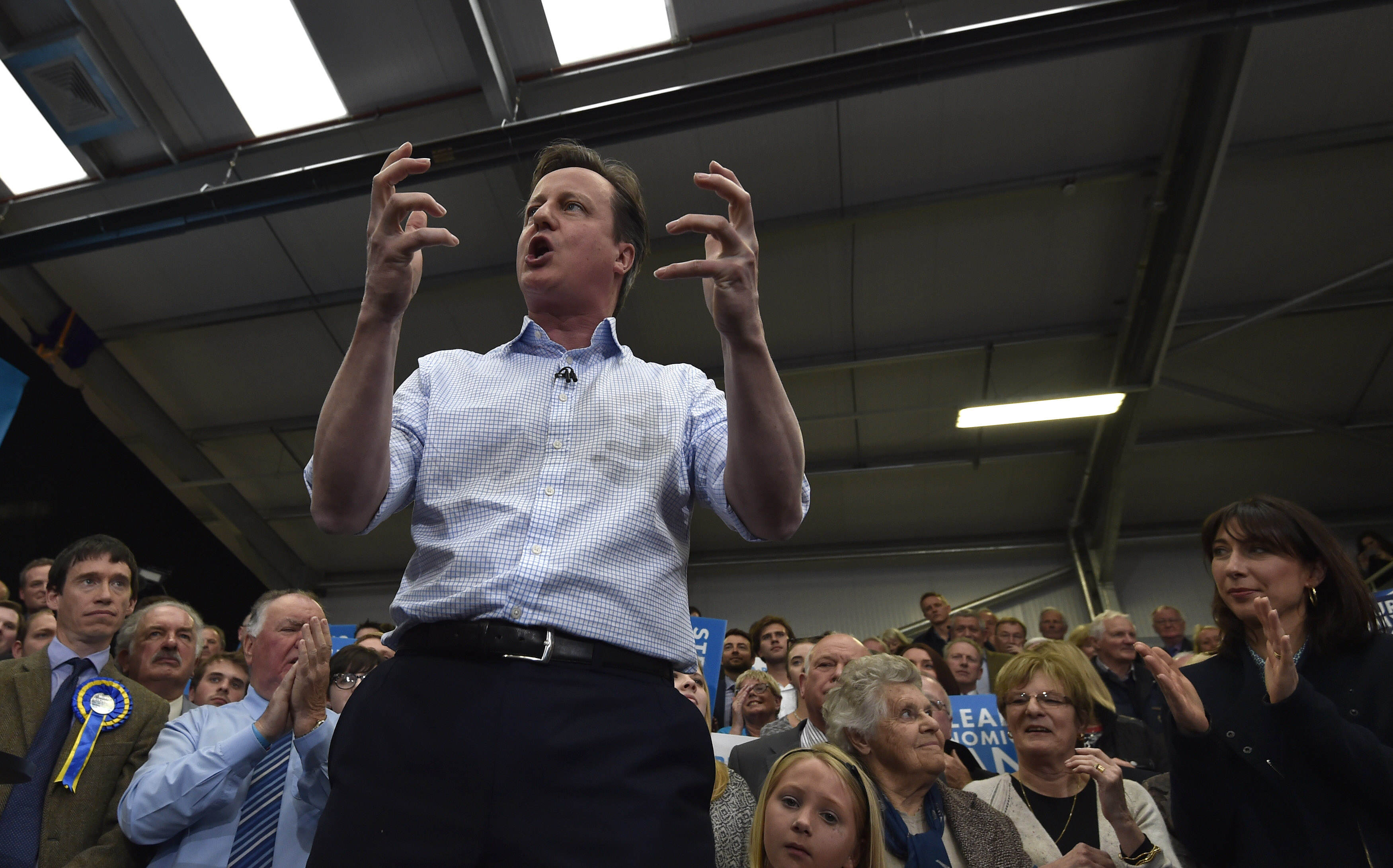 David Cameron Campaigns On Final Day Of Election