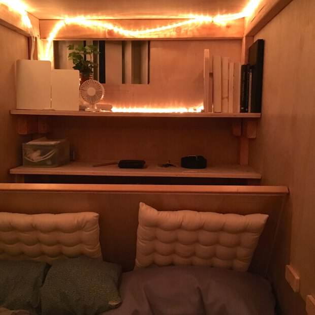 Guy Builds Tiny Bedroom Pod In Mates Lounge To Beat Massive Housing Prices ad201011623peter berkowitz
