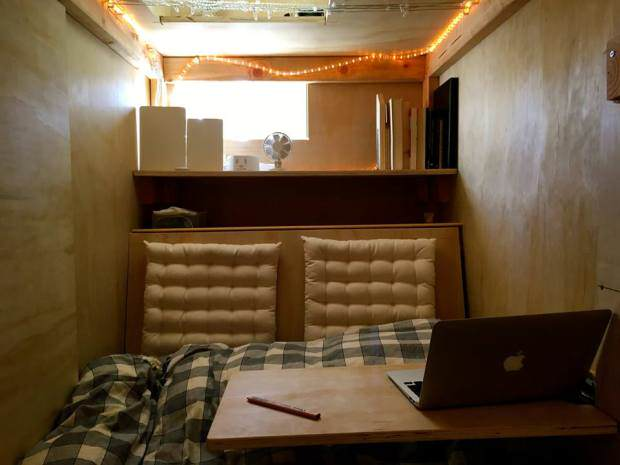 Guy Builds Tiny Bedroom Pod In Mates Lounge To Beat Massive Housing Prices ad201011627peter berkowitz