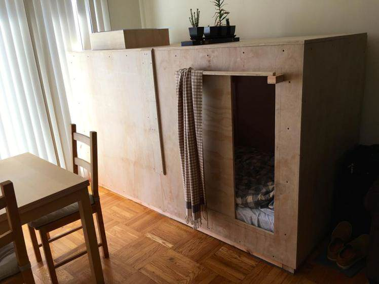 Guy Builds Tiny Bedroom Pod In Mates Lounge To Beat Massive Housing Prices ad201011629peter berkowitz