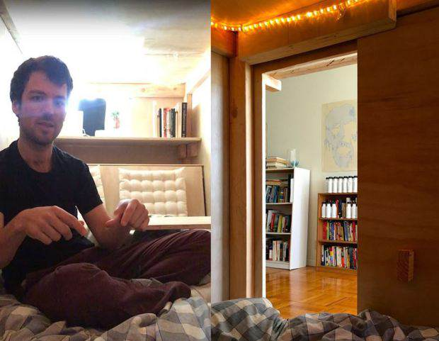 Guy Builds Tiny Bedroom Pod In Mates Lounge To Beat Massive Housing Prices bedroom pod