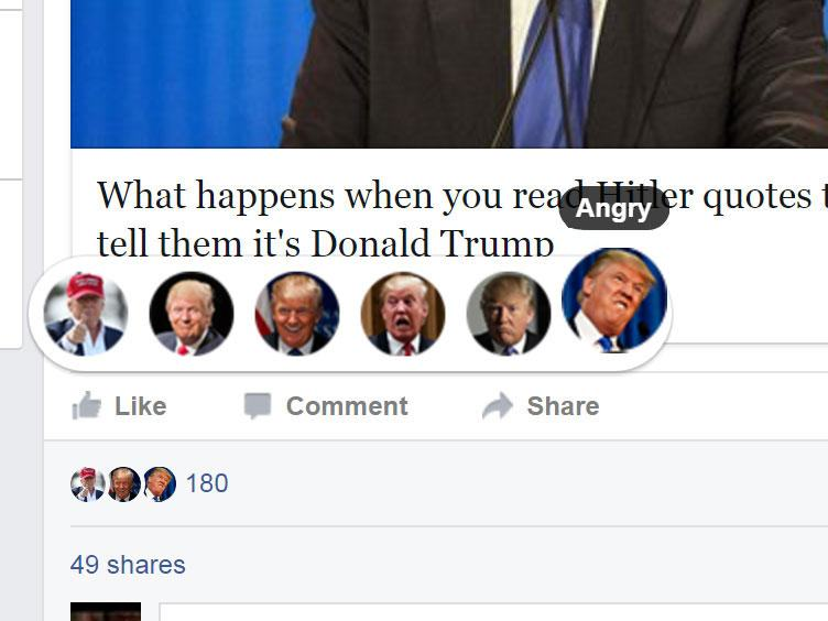 You Can Change Your Facebook Reaction Emojis To Trumps Face emojis1