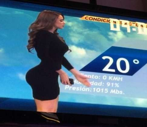 The Worlds Hottest Weather Girl Confuses Audiences With Expanding Bum mexican weather lady