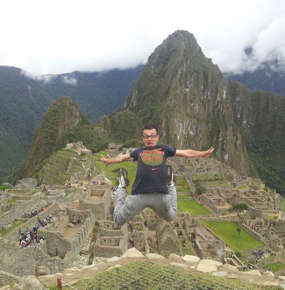This Guy Managed To Travel Around The World For Only £55 332296FF00000578 3537672 The 30 year old jumps excitedly while visiting Machu Picchu high a 197 1460553192260