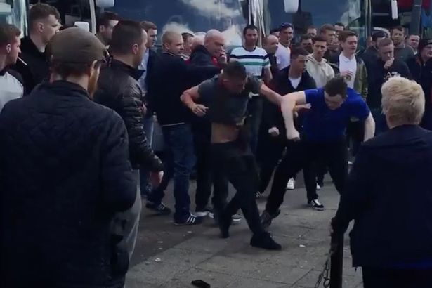 Man United And Everton Fans Have Brutal Brawl At Motorway Services Everton vs Manchester United fans fight 1