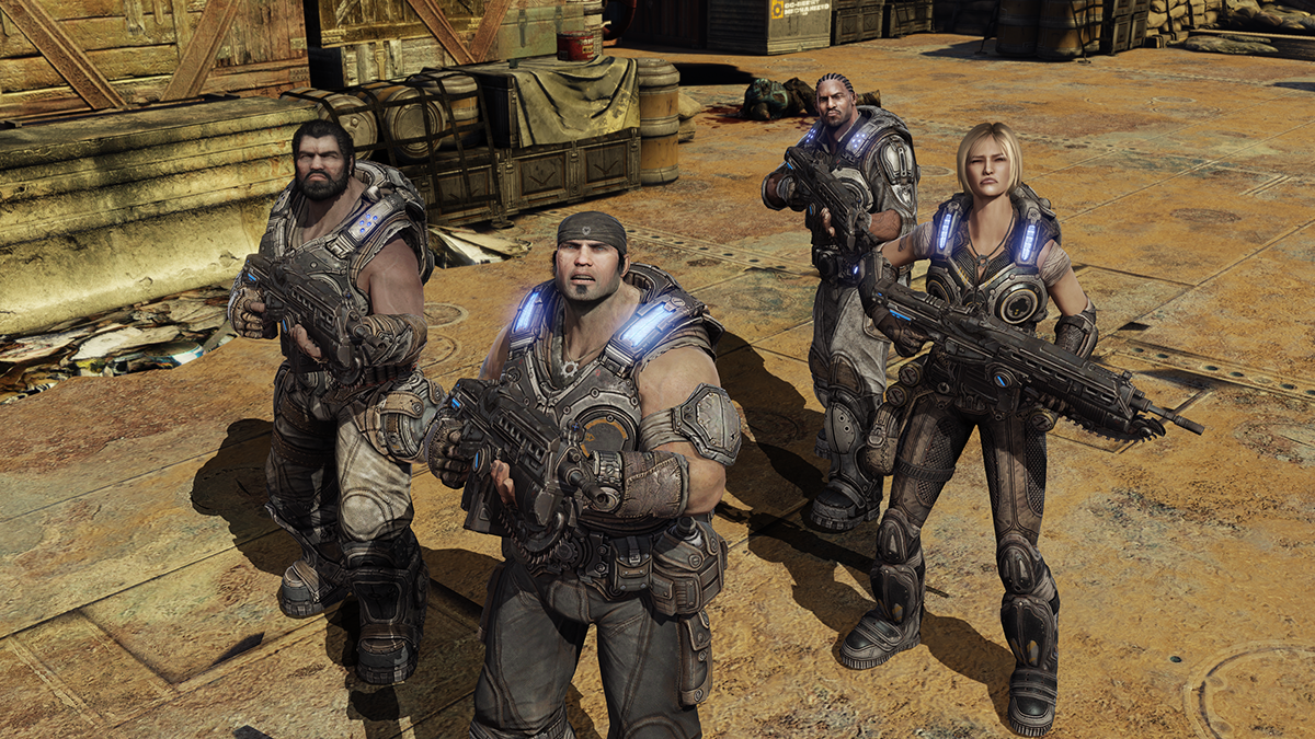 The 10 Greatest Xbox 360 Games Of All Time Gears of War 3 campaign screenshot featuring Marcus Fenix and Delta Squad