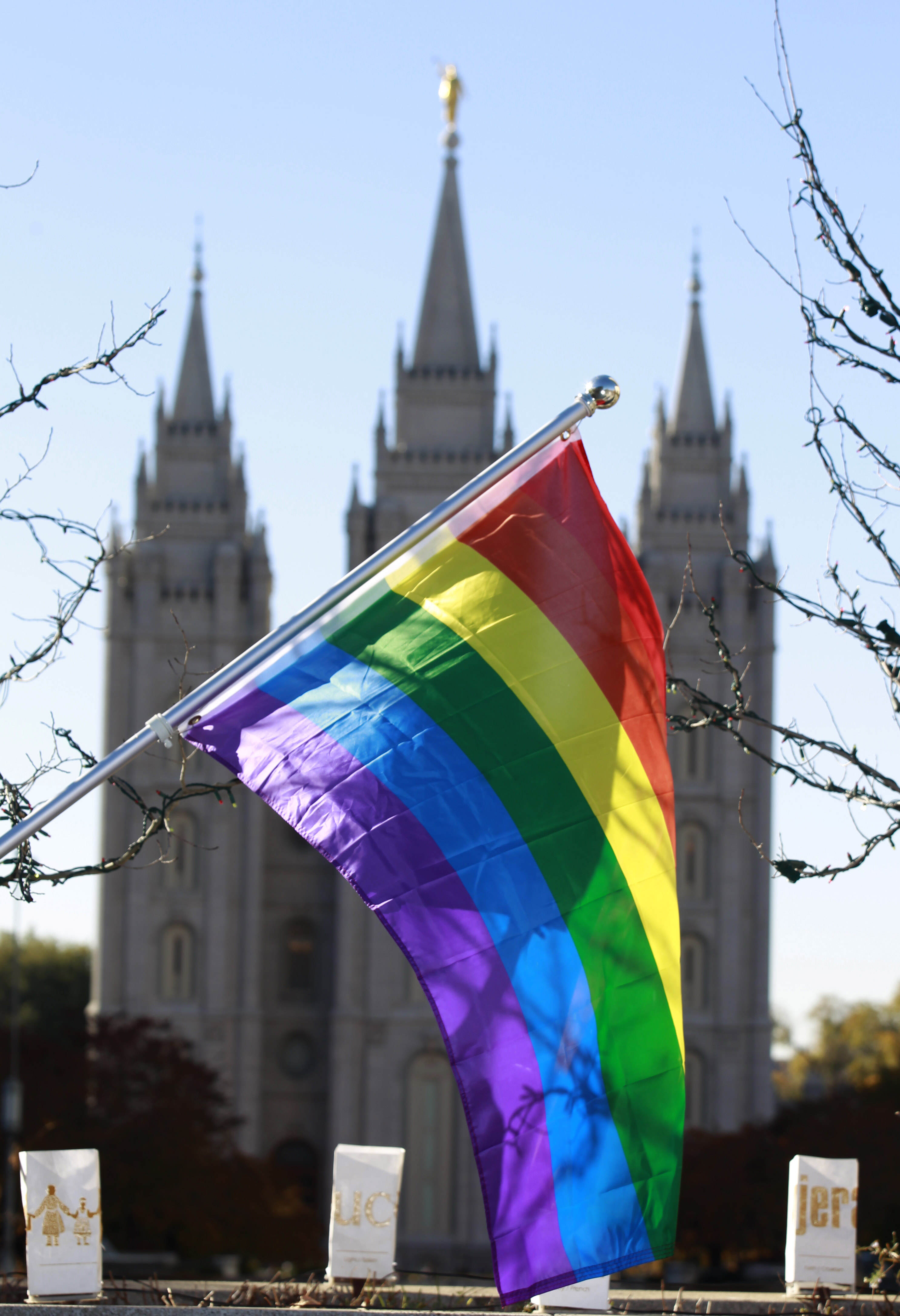 SALT LAKE CITY, UT - NOVEMBER14: A pride flag flies in front of the Historic