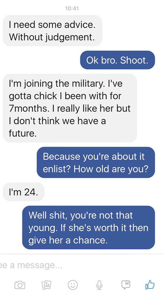 Guy Tells Stranger Hes Sleeping With Soldiers Wife, Instantly Regrets It Jodie1