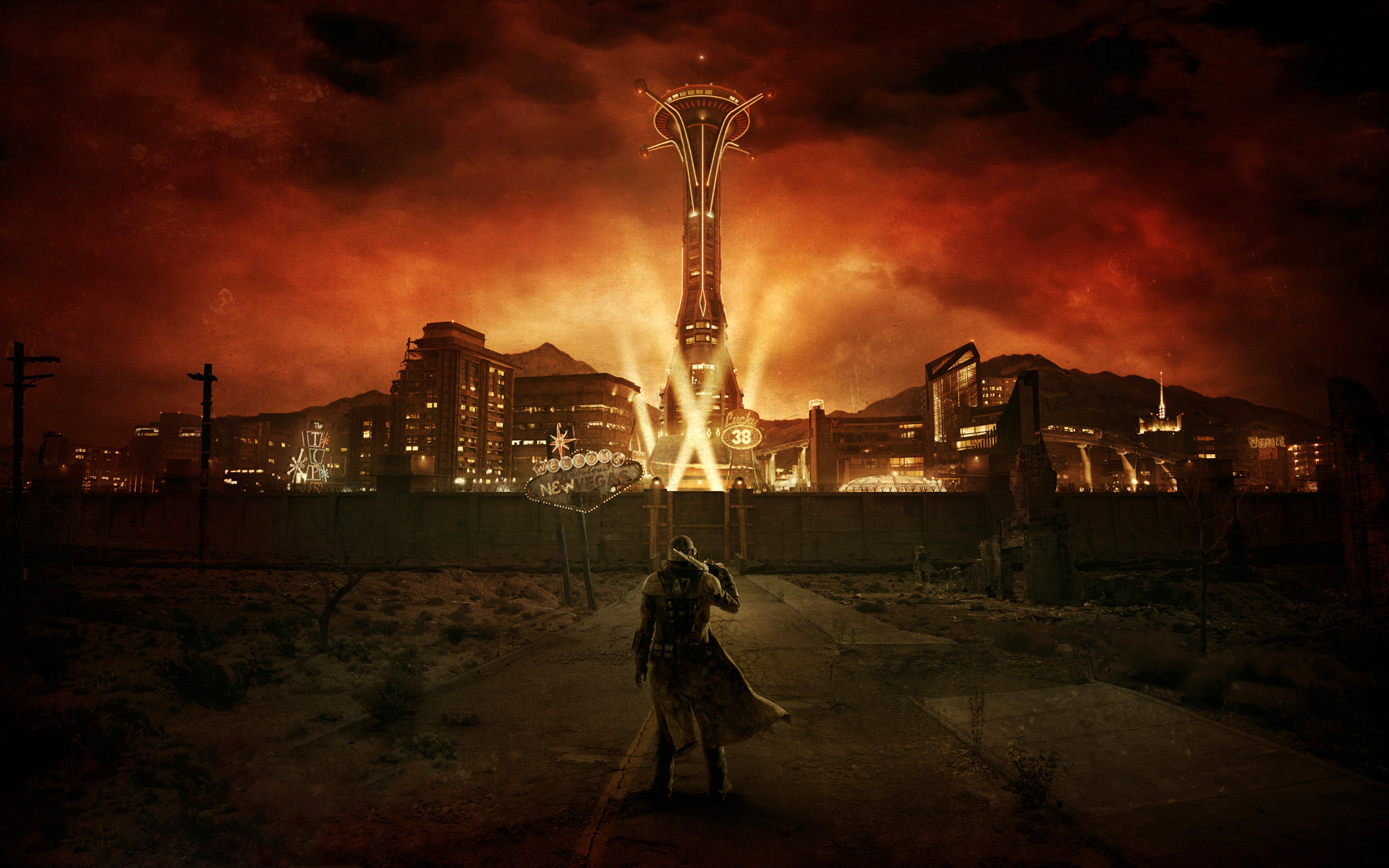 Relive Fallout: New Vegas As A YouTube Choose Your Own Adventure Game Ranger at New Vegas entrance