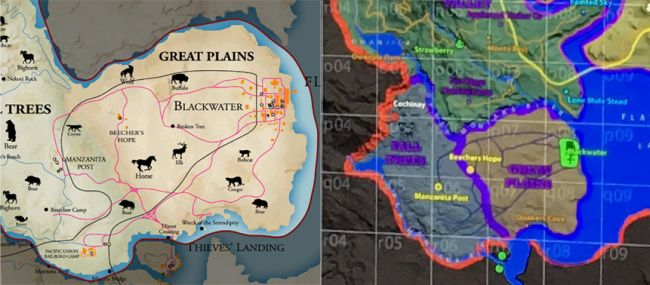 Red Dead Redemption 2 Reportedly Happening, Map Leaked Online Red Dead maps side by side 650 80
