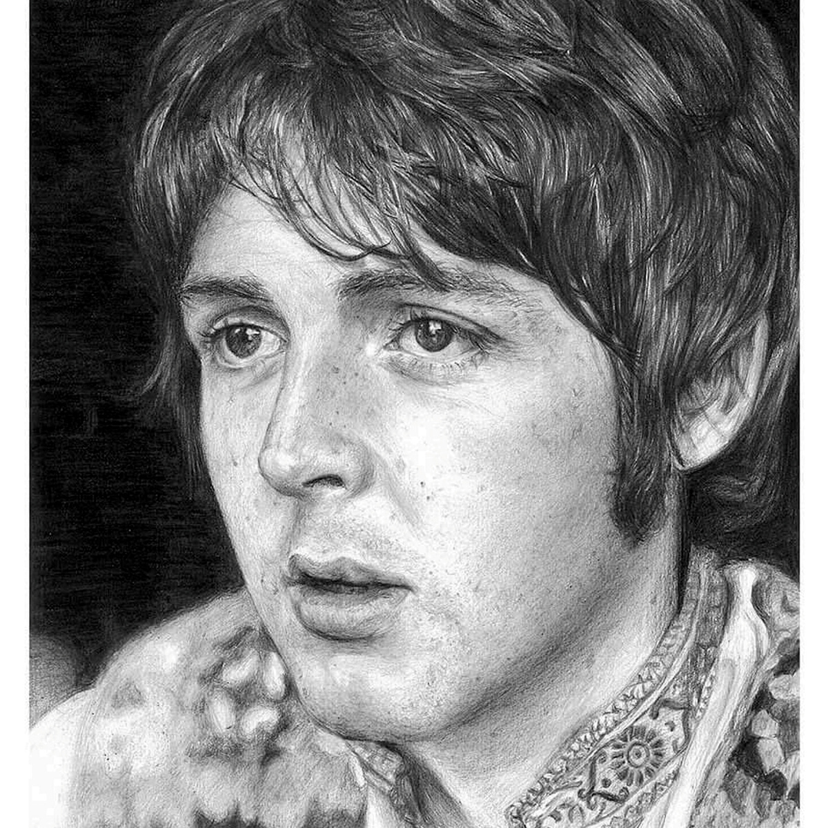 Former Model Now Creates Incredible Photo Real Portraits Using Pencil SWNS BEATLES DRAWINGS 01