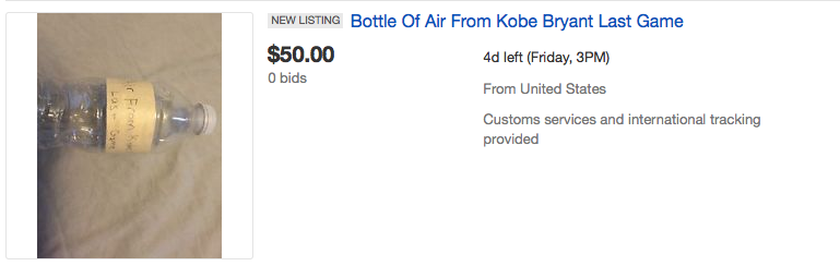 People Are Seriously Bidding On Air From Kobe Bryants Last Game Screen Shot 2016 04 18 at 15.10.33
