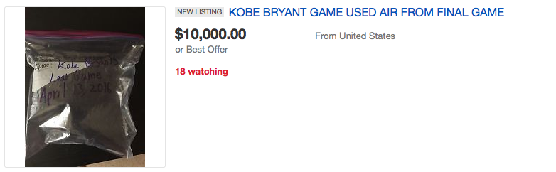 People Are Seriously Bidding On Air From Kobe Bryants Last Game Screen Shot 2016 04 18 at 15.10.54