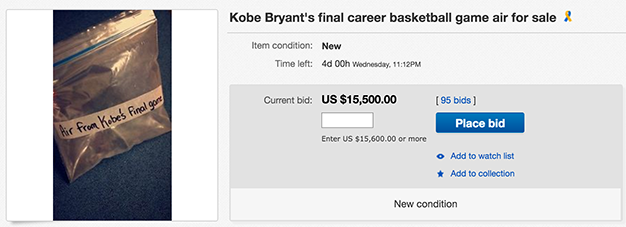 People Are Seriously Bidding On Air From Kobe Bryants Last Game Screen Shot 2016 04 18 at 15.37.26