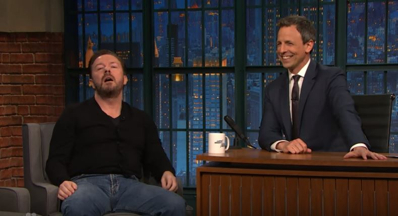 Ricky Gervais Shows Off His Improvising Skills, Smashes It gervais1