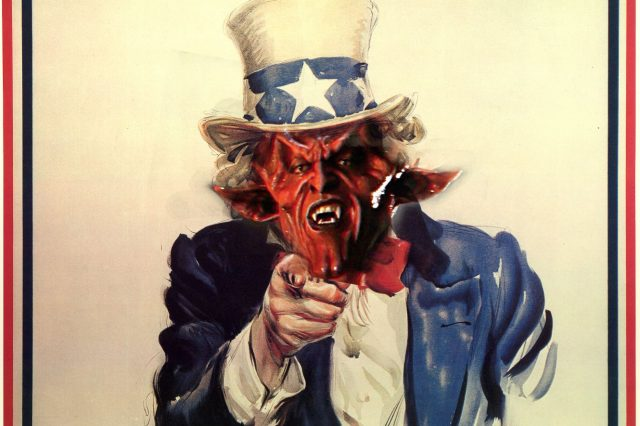 Heres Why Satanic Temple Are P*ssed Off With U.S. Presidential Hopeful satan uncle sam 640x426