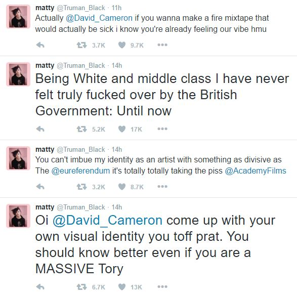 This Singers Twitter Meltdown About The Government Is Ridiculous 1975 twitter rant