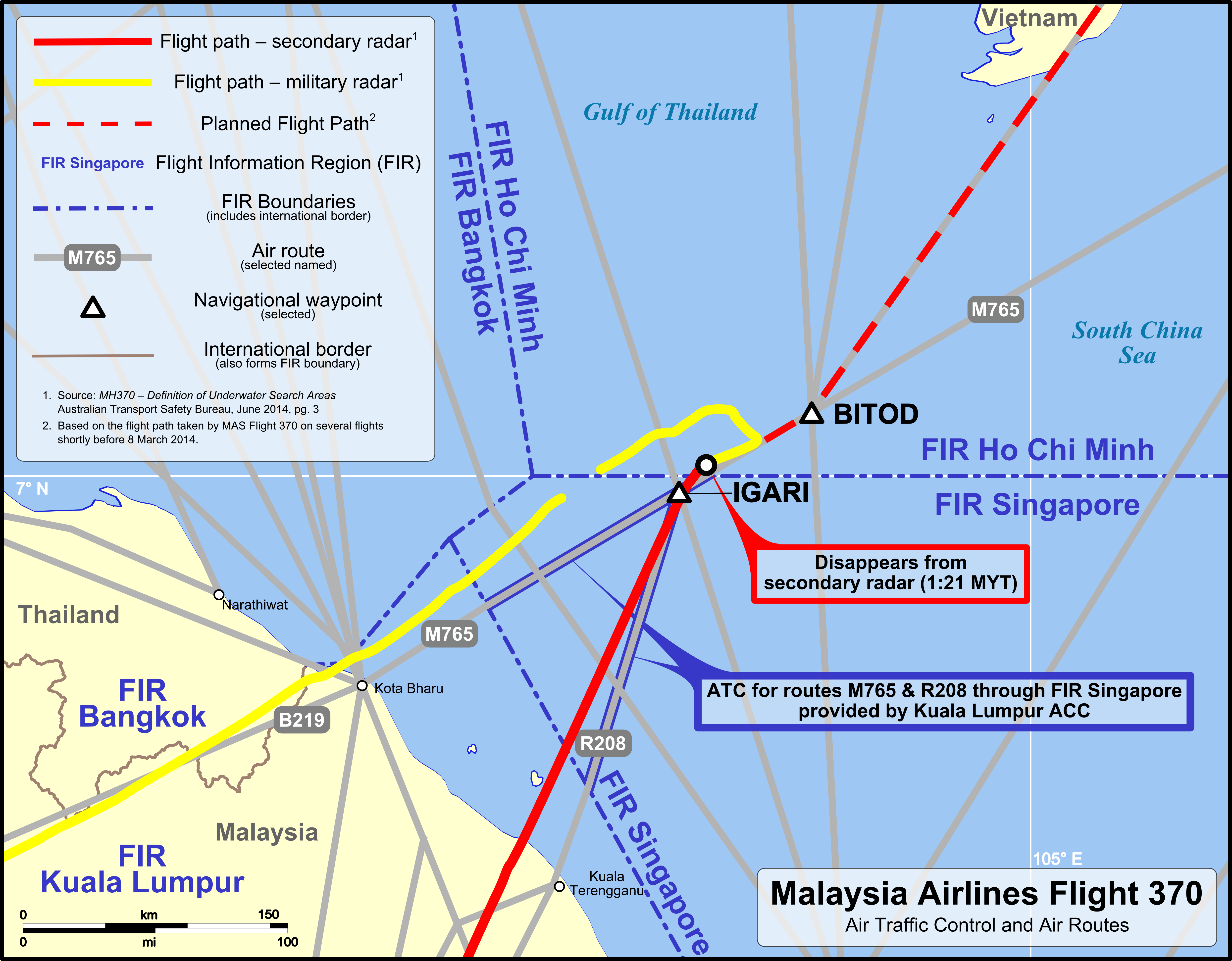 Debris Found Two Months Ago Almost Certainly From MH370 MH370 ATC and air routes map