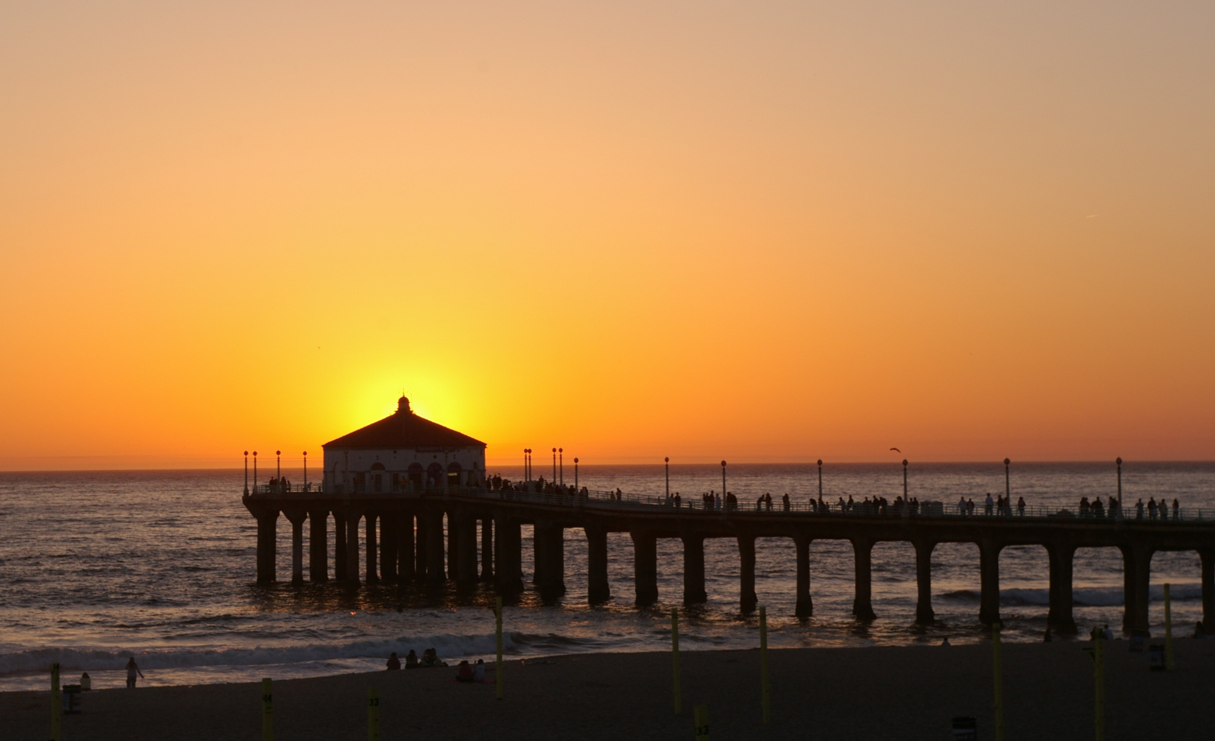 Gang Member Found Washed Up On Brooklyn Beach Wearing Cement Shoes Manhattan Beach Pier at sunset with the sun behind the roundhouse at piers end