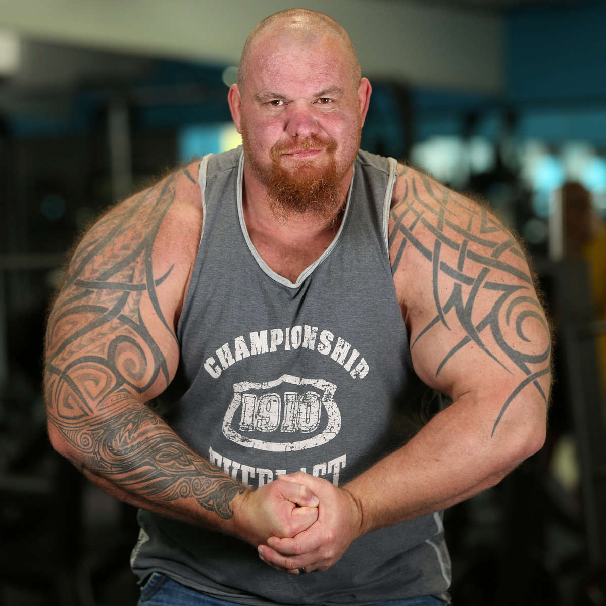 Man Turns Life Around To Set Record For UKs Largest Biceps SWNS BIGGEST BICEPS 08